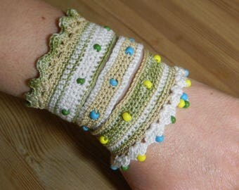 Crocheted bracelet/cuff and beads
