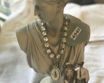Faux Diamond Encrusted Reversible Pendant Necklace