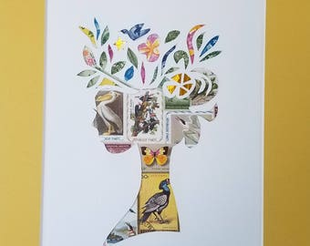 Postage Stamp Collage - Yellow Lady