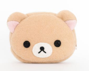 Korilakkuma Bear Kawaii Sewn Felt Coin Purse / Pouch / Bag