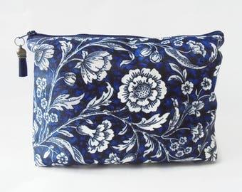 Gifts for her, Wash bag, Navy floral, vintage inspired travel bag, cosmetic bag, zip bag