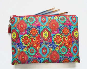 Gifts for her, Wash bag, colourful indian print, boho, pocket bag, travel bag, cosmetic bag, zip bag, make up bag, cosmetic pouch.