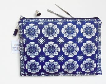 Gifts for her, Antiqu Dehli Inspired, pocket bag, travel bag, cosmetic bag, zip bag, make up bag, cosmetic pouch.