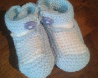 Newborn baby blue wool slippers