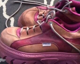 Gordon Jacks Pink Leather Platform Boots / UK Size 8