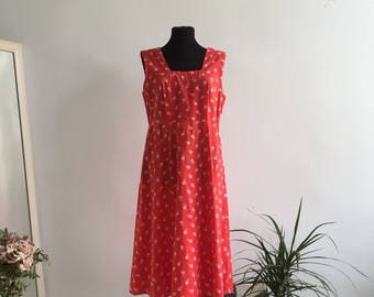 A-line Vintage Dress Red White Flowers