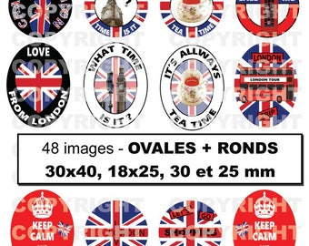48 digital images for cabochon London England London travel theme - round and oval