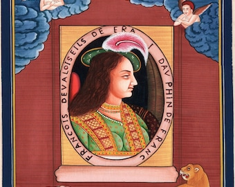 Mughal French Portrait Painting of Dauphin Handpainted Rare Moghul Empire Art