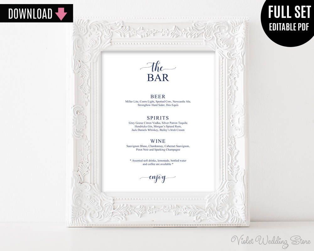 Wedding Bar Sign Template Printable Navy The Decor