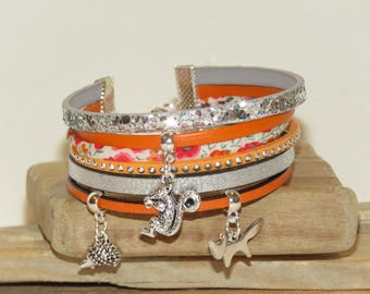 "Cuff Bracelet, suede, leather, multi strand, orange, silver glitter, Fox, squirrel, ""Walk in forest"" beaded charms."