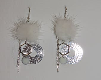 "Tassel earrings white fur print Sun Hexagon charm, sequin ""earrings Poumpoumpidou"" Pimprenellecreations"
