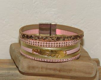 Cuff Bracelet, bracelet MULTISTRAND bracelet pink blush and gold bracelet with feather, leather bracelet closes with a magnet bracelet idea Valentine