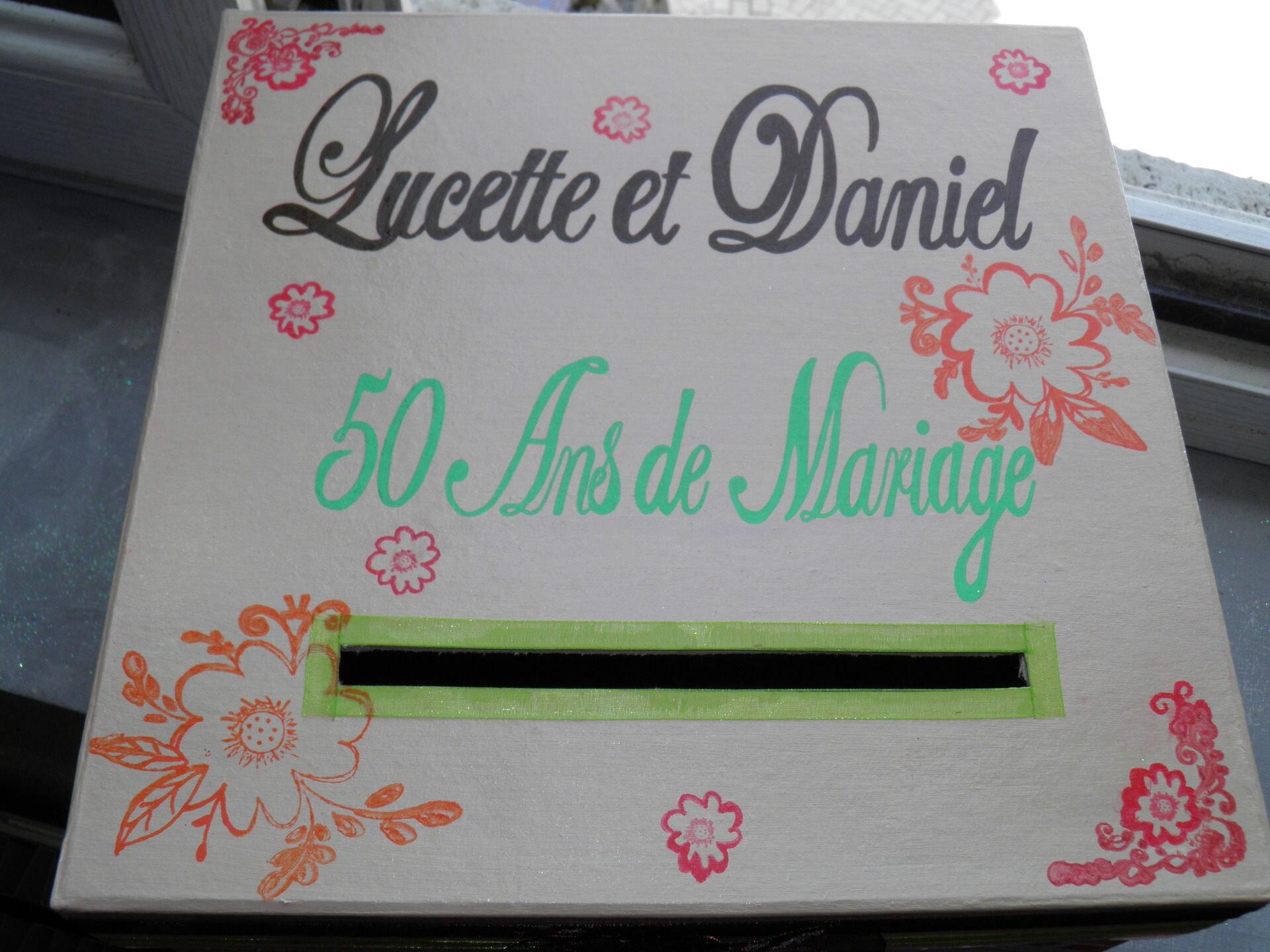 Urne anniversaire de mariage theme fleur carte postale - Decoration pour 50 ans de mariage ...