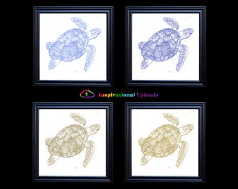 "Sea Turtles with Metallic Outlines on White - Four 12"" x 12"" HD Digital Prints"
