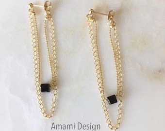 14K gold filled with Onyx earrings .