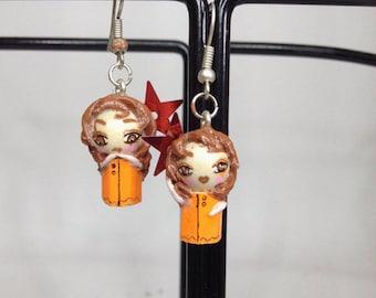 Hot pink and orange caps earrings