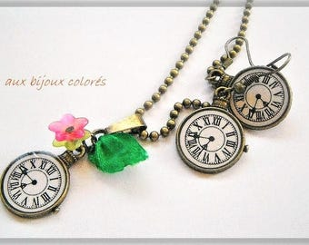 bronze clock necklace earrings set