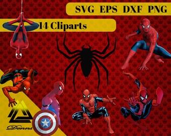 Spider-man Clipart – 14 (Svg, Eps, Png, Dxf Files) – 300 PPI – Vectorial Images – Spiderman svg – T-Shirt Design Spiderman Printable