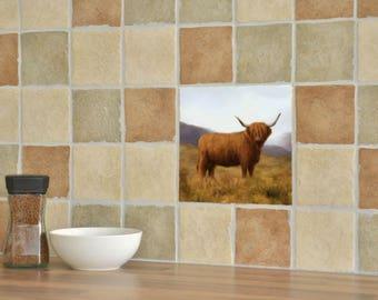 Highland Cow Ceramic Tile