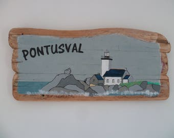 Pontusval Lighthouse painting on Driftwood