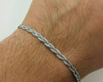 "14k Solid White Gold Braided Foxtail Wheat Bracelet 7"" 3.5mm Women"