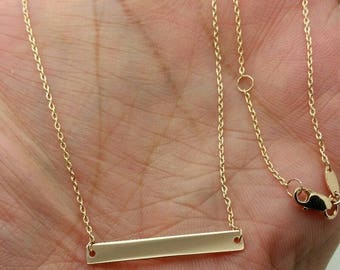 14k Gold White Yellow or Rose Bar Pendant Cable Chain  Name Plate Necklace Engravable Personalized Gift Birthday Mom