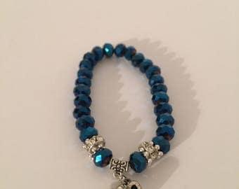 Teal crystal charm bracelet