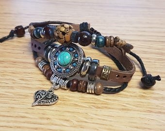 Adjustable Leather Turquoise Snap jewelry Heart Charm Bracelet