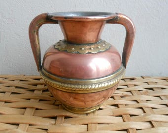 Vintage French Vase, jug, pinholders, copper and brass - old milk line: old french copper