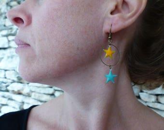 "Long earrings bronze and enamel ""Auriga"""