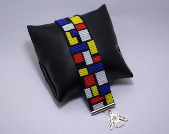 Mondrian, Miyuki beaded bracelet