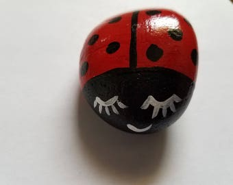 Hand Painted Lady Bug Rock Garden Decor Patio Porch Ladybug