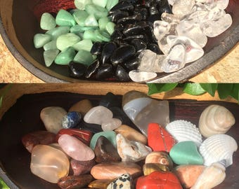 Tumbled Polished Chakra Stones: Quartz, Green Aventurine, Obsidian, Rose Quartz, Tigers Eye, Dalmation Jasper, Red Jasper, Agate, Blue Lace