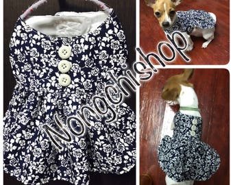 I make this dress by order. You can measure you  dog. The dress gonna be fit for your dog.