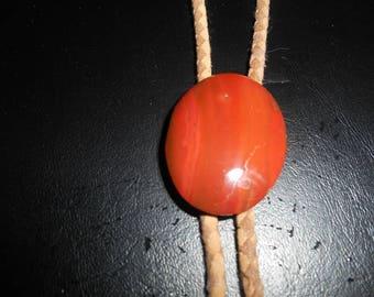 Vintage Red Orange Jasper Bolo Tie