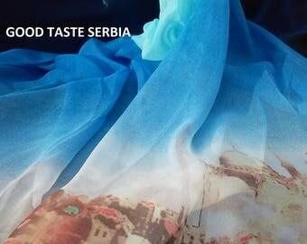 Blue Chiffon Scarf Blue Silk Scarf Blue Polyester Scarf Blue Georgette Scarf Women Shawl Blue Scarves Blue Hijab Wrap Bandana Gift For Her