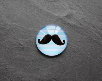 """Cabochon 25 mm glass """"Mr Moustache"""""""