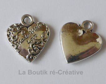 """Lot 2 """"Made with Love"""" heart charms silver plated 17mm"""