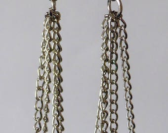 Earrings chains & ivory natural pearls earrings new