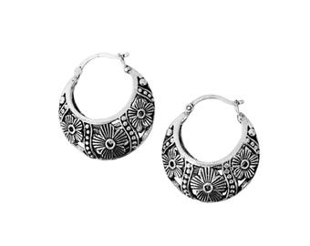 sterling silver earrings; oxidized; bohemian; tribal; ethnic; antique; 925 pure;