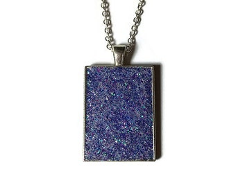 purple druzy, druzy pendant, druzy necklace, geode jewelry, crystal pendant, boho, dark druzy, rectangle pendant, under 20 dollars, antiqued