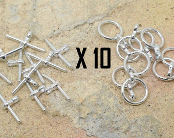 10 x round toogle clasp 11mm-silver bar