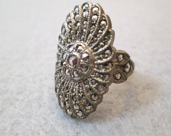 Exquisite 1940's Sterling Silver & Genuine Marcasite ring, New Old Stock, never worn>>Glamorous and Gorgeous!!
