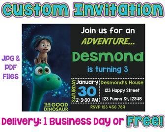 Customized The Good Dinosaur Invitation, Printed The Good Dinosaur Invitation, The Good Dinosaur Birthday, The Good Dinosaur Invitations