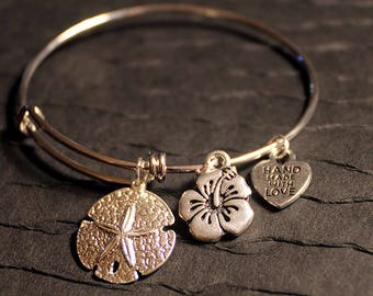 Silver Sand Dollar and Hibiscus Flower Charm Bracelet