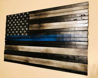 "Thin Blue Line Flag ""wood"""