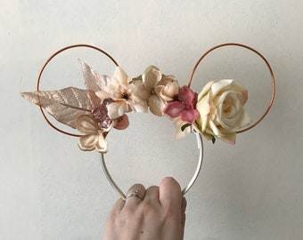 Rose gold mickey Minnie Mouse ears