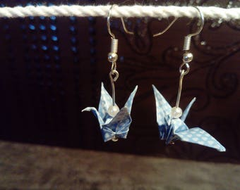 """Birds"" blue earrings"