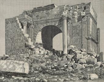 Arch of Septimius Severus, Tunisia 1882 - Old Antique Vintage Engraving Art Print - Ruins, Stones, Bricks, Arch, Writing, Grass, Corniche