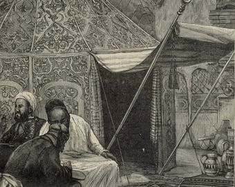 The Emperor of Morocco in his Tent in the Palace of the March Camp, Morocco 1878 - Old Antique Vintage Engraving Art Print - Tent, Leather